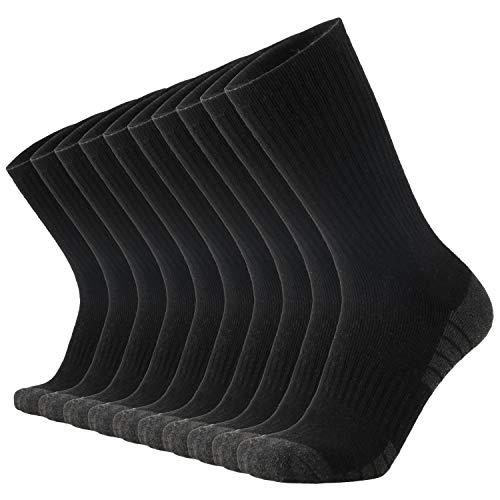 ONKE Cotton Moisture Wicking Work Steel Toe Boot Cushion Crew Socks Men Pack(Black L)