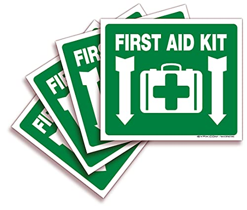 First Aid Kit Sticker Sign for Home, Schools & Business – 4 Pack 7x6 Inch – Premium Self-Adhesive Vinyl, Laminated for Ultimate UV, Weather, Scratch, Water and Fade Resistance, Indoor & Outdoor