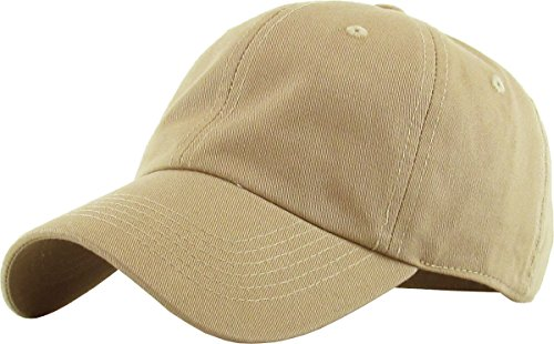 KB-LOW KHK Classic Cotton Dad Hat Adjustable Plain Cap. Polo Style Low Profile (Unstructured) (Classic) Khaki Adjustable