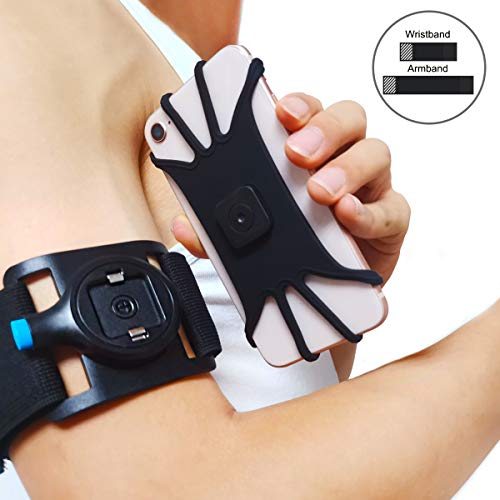 Quick Mount Running Phone Armband- Wrist Band Cell Phone Holder Sport Arm Band Universal Fit for iPhone 12/11/XS/XR/8 Plus/8/7/6s, Galaxy S20 S10 /S20/S10/& & Other 4.0-6.5 Holder Phone Armband