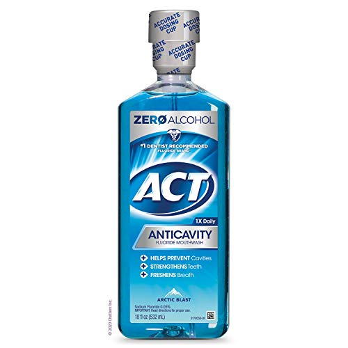 ACT Anticavity Zero Alcohol Fluoride Mouthwash 18 fl. oz, With Accurate Dosing Cup, Arctic Blast