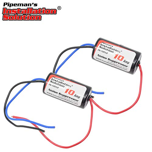 Pipeman's Installation Solution 10 Amp Inline Power Noise Suppressor Filter - (2-Pack) Eliminator Isolator Universal 12-Volt Car Audio Radio Ground Loop