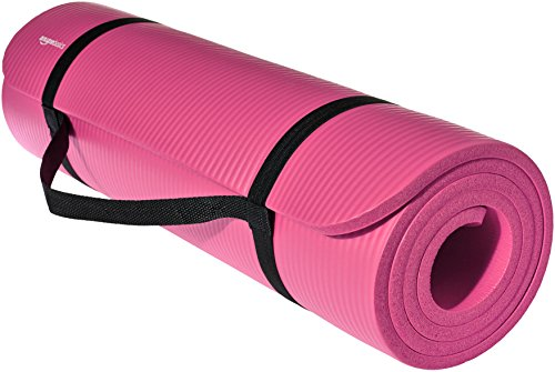 AmazonBasics Extra Thick Exercise Yoga Gym Floor Mat with Carrying Strap - 74 x 24 x .5 Inches, Pink