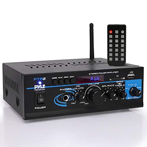 Home Audio Power Amplifier System - 2X40W Bluetooth Mini Dual Channel Mixer Sound Stereo Receiver Box w/ AUX, Mic Input - For Amplified Speakers, PA, CD Player, Theater via RCA, Studio Use - Pyle PTA2