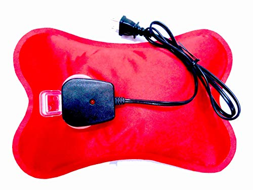 Happy Heat Electric Hot Water Bottle Rechargeable Heating Pad, Portable Hot Water Bag for Cramps, Zippered Soft Fleece Cover, Red