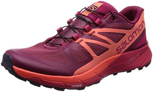 Salomon Sense Ride Trail Running Shoe - Women's Sangria/Living Coral/Virtual Pink 6