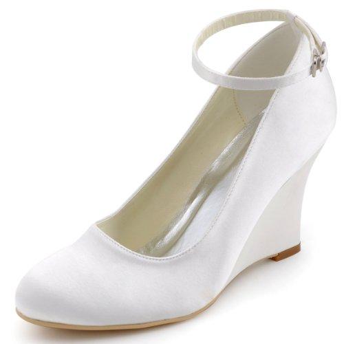 ElegantPark A610 Women Wedge Heel Pumps Closed Toe Ankle Strap Satin Bridal Wedding Shoes Ivory US 8
