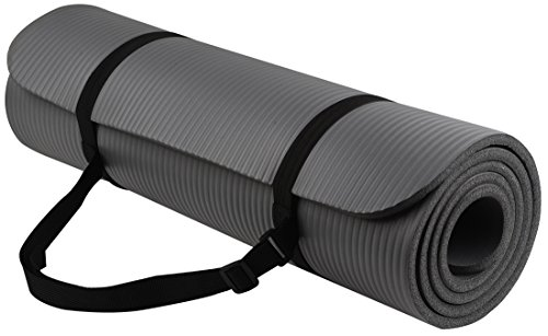 BalanceFrom BFGY-AP6GY Go Yoga All Purpose Anti-Tear Exercise Yoga Mat with Carrying Strap, Gray, One Size
