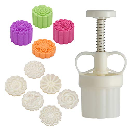 LOUTYTUO Mid-Autumn Festival Hand-Pressure Mooncake Mold Cookie Stamps DIY Pastry Tool With 6 Pcs Flower Mode Pattern
