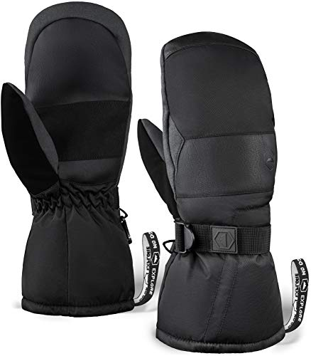 Winter Snow & Ski Mittens with Wrist Leashes - Mitts Designed for Skiing, Snowboarding, Shoveling - Waterproof Nylon Shell, Thermal Insulation & Synthetic Leather Palm (M4 - Black, Medium / Large)