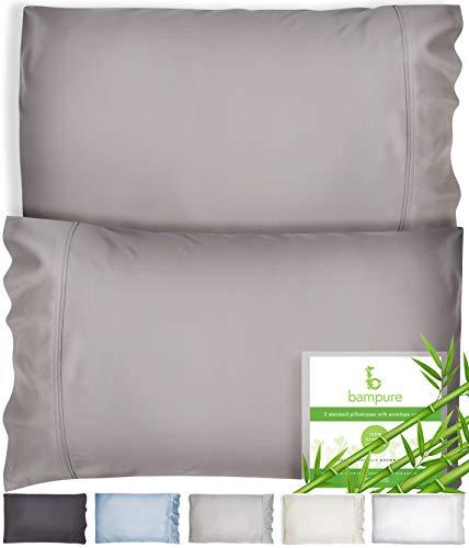 BAMPURE Bamboo Pillowcase Queen Bamboo Pillow Case Queen Size (20x30) - 100% Organic Bamboo Large Pillow Cases Cooling Pillowcase Cooling Pillow Cases Cool Pillow Cases Set Of 2 Pillowcases Stone Gray
