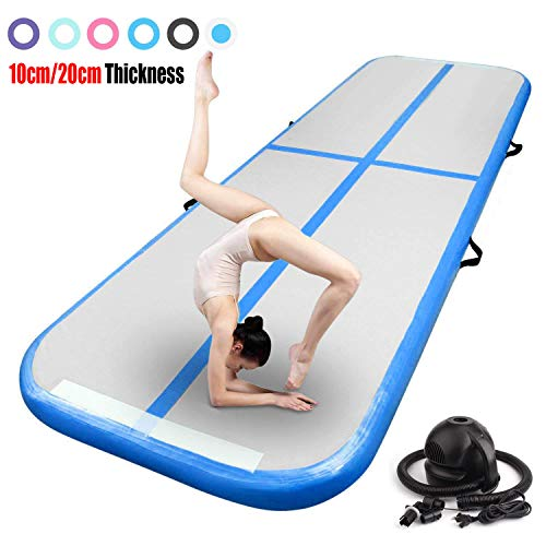 FBSPORT 10ft Inflatable Gymnastics Air Track Tumbling Mat Airtrack Mats for Home Use/Training/Cheerleading/Yoga/Water with Pump