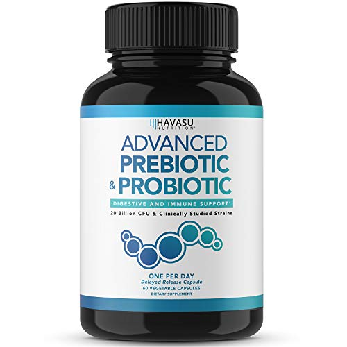 Havasu Nutrition Prebiotics and Probiotics for Women and Men as Digestive Enzyme Support; Non-GMO, 60 Vegetarian Caps