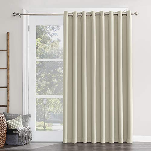 Sun Zero 50955 Easton Extra-Wide Blackout Sliding Patio Door Curtain Panel with Pull Wand, 100' x 84', Pearl