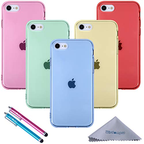 Wisdompro iPhone SE 2020 Case, iPhone 8 Case, iPhone 7 Case, 5 Pack Bundle Clear Jelly Colorful Soft TPU Gel Slim Fit Protective Case Cover for iPhone SE2/8/7 (Blue, Aqua Blue, Hot Pink, Yellow, Red)