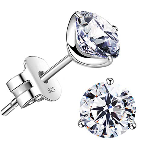 'STUNNING FLAME' 18K Gold Plated Silver Brilliant Cut Simulated Diamond Cubic Zirconia Stud Earrings (white-gold-plated-silver, 1.0)