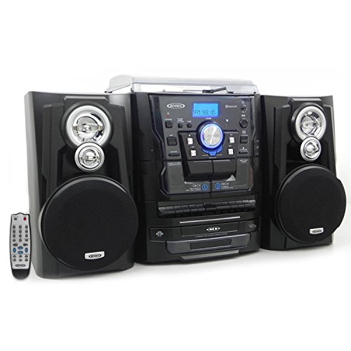Jensen JMC1250 Bluetooth 3-Speed Stereo Turntable and 3 CD Changer with Dual Cassette Deck (JMC-1250)