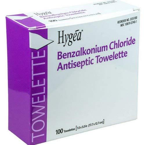 Antiseptic Towelettes, w/Benzalkonium Chloride, 100 per Box
