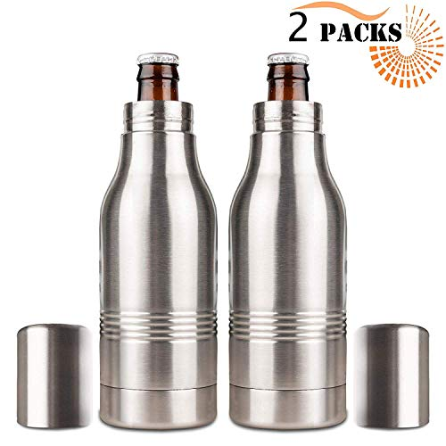 Beer Bottle Insulator, Stainless Steel Beer Bottle Insulator (2 Pack) Keeps Beer Colder With Opener/Beer Bottle Holder For Outdoor or Party