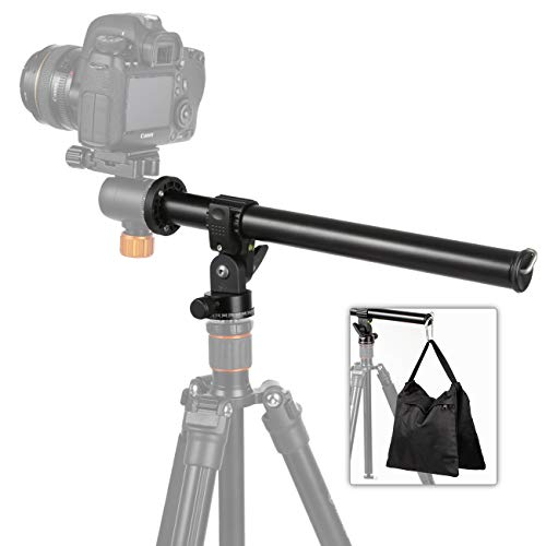 TARION Tripod Extension Arm Horizontal Centre Column Boom 12.6' Extender 360° Rotatable Aluminum Alloy Swivel Lock with Counterweight Sandbag for Overhead Photography and Filming
