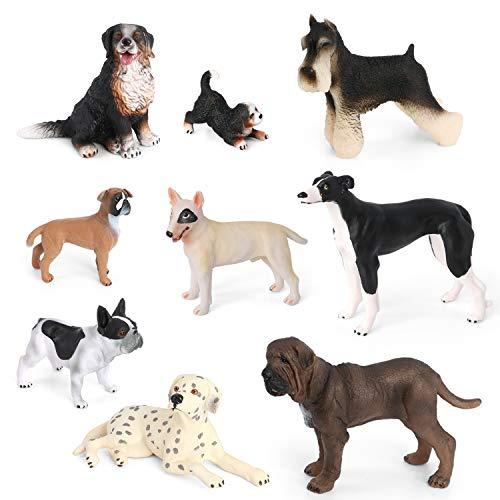 Volnau Dog Figurines Toys 9PCS Mini Dog Figures for Kids Toddlers Christmas Birthday Gift Preschool Educational Bulldog, Dalmatian, Schnauzer Puppy Animal Toys Set