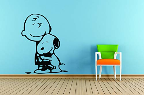 Charlie Brown and Snoopy Wall Vinyl Art Decal/Peanuts Cartoon Kids Bedroom Stickers Decals/Childs TV Characters/Patty Shermy Snoopy Violet Gray Linus Van Pelt Decals Kids Hugs Size 20x20 inch