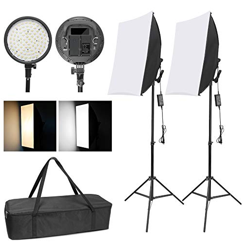 WISAMIC Photography LED Softbox Lighting Kit: 48W Bi-Color Dimmable LED Light Head with Battery Compartment and Light Stand 20x28 inches Softbox for Indoor/Outdoor Photography Studio Kit