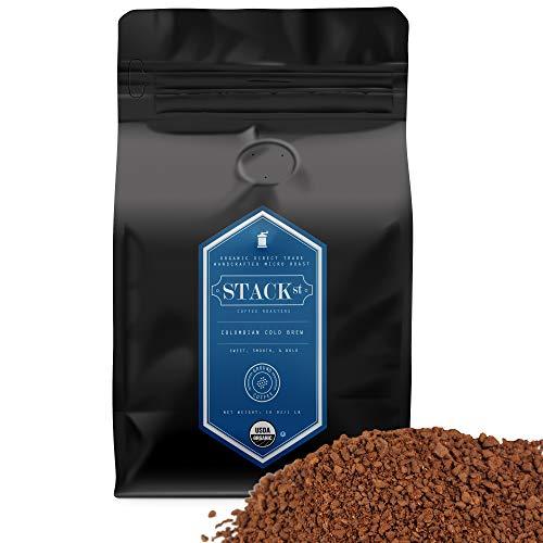 Organic Cold Brew Coffee Coarse Ground 1 LB - Colombian Supremo Reserve Flavor Dark Roast Coarse Grind - 100% Arabica Beans - Handcrafted, Single Origin, Micro Roast, Direct Trade – By Stack Street