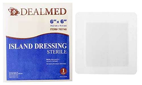 Dealmed Sterile Bordered Gauze Island Dressings, Non-Stick, Latex-Free, 6' x 6', 25 Count