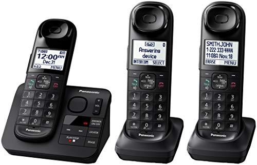 Panasonic Black Cordless Telephone with 3 Handsets and Answering Machine KX-TG3683B