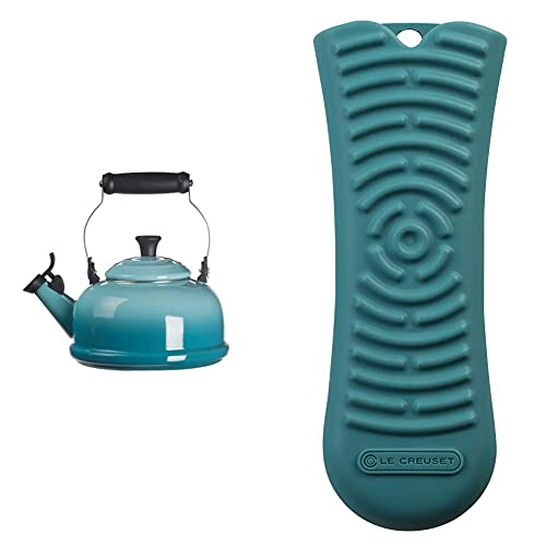 Le Creuset Enamel On Steel Whistling Tea Kettle, 1.7 qt, Caribbean & Le Creuset Silicone Handle Sleeve, 5 3/4' x 2', Caribbean