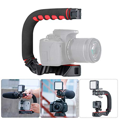 U Grip Pro Camera Stabilizer Handle Grip w 3 Shoe Mounts, Universal Video Action Stabilizing Handle Grip Compatible w Canon Nikon Sony DSLR Camera GoPro 8 7 6 5 iPhone 11 Pro Max Samsung OnePlus 7