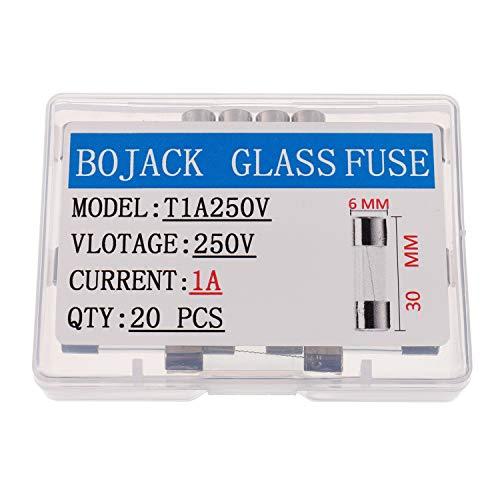 BOJACK T1AL250V 6x30 mm 1A 250V Slow Blow Fuses 1 amp 250 Volt 0.24 x 1.18 Inch Glass Tube Time-delay Fuses(Pack of 20 Pcs)