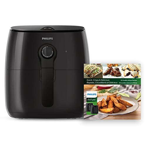 Philips Premium Analog Airfryer with Fat Removal Technology + Revipe Cookbook, 3qt, Black, HD9721/99