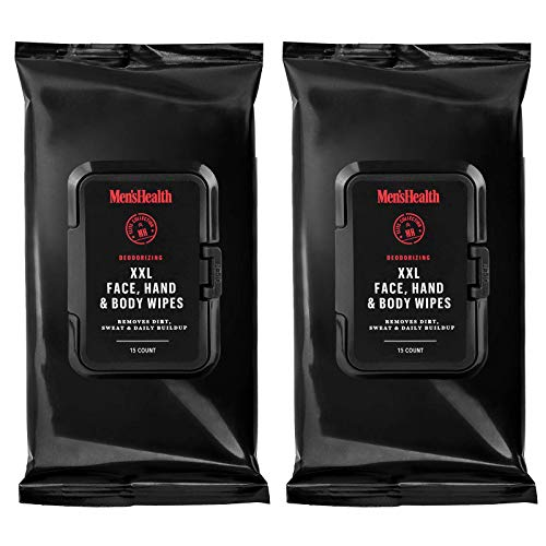 Men's Health Body & Face Wipes - XL Body Wipes for Men, Shower Wipes, Gym Wipes, After Workout Wipes for a Quick Cleanup of Dirt, Sweat and Oil - Resealable Flip Top Pack (2 Pack - 30 Count)