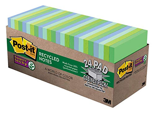 Post-it Super Sticky Recycled Notes, 3 in x 3 in, 24 Pads, 2x the Sticking Power, Bora Bora Collection, Cool Colors (Green, Light Blue, Blue, Mint, Green), 30% Recycled Paper (654-24SST-CP)