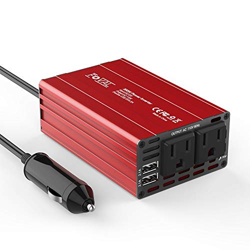 FOVAL Power Inverter 300W DC 12V to 110V AC Converter with 4.2A Dual USB Car Charger