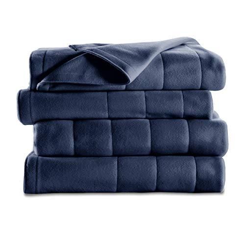 Sunbeam Heated Blanket   10 Heat Settings, Quilted Fleece, Newport Blue, Full - BSF9GFS-R595-13A00