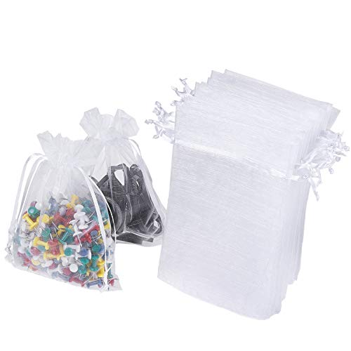WenTao 100PCS 4x6' (10x15cm) Sheer Organza Bags, White Wedding Favor Bags With Drawstring, Premium Jewelry Pouches Party Festival Gift Bags Candy Bags