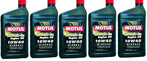 Motul 108080 Set of 5 Break-in 10W-40 Mineral Oil 1-Quart Bottles
