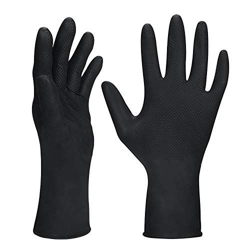 ThxToms Hair Dye Gloves, 5 Pairs Professional Hair Coloring Gloves Black, Reusable Rubber Gloves for Hair Salon Hair Dyeing (Small)