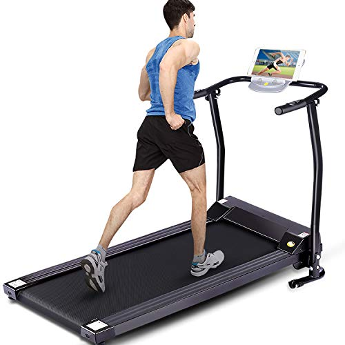FUNMILY Electric Folding Treadmill for Home Workout, Ultra-Quiet & Shock-Absorbant, Portable Exercise Running Machine for Small Spaces with 12 Programs & LCD Screen (Black)