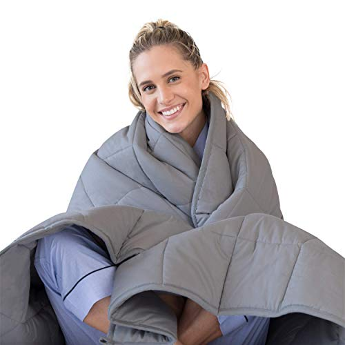LUNA Adult Weighted Blanket | Individual Use - 10 lbs - 60x80 - Queen Size Bed | 100% Oeko-Tex Certified Cooling Cotton & Glass Beads | USA Designed | Heavy Cool Weight | Dark Grey