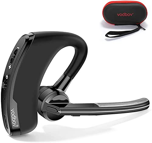 vodbov Bluetooth Headset, Wireless earpiece for Business/Sport/Driver Noise Cancelling Mic Black Bluetooth Headphones Compatible with Apple Android Cell Phones,MacBook and Compatible with Alexa
