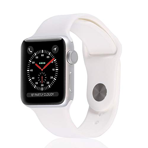 Apple Watch Series 3 (GPS, 38MM) - Silver Aluminum Case with White Sport Band (Renewed)