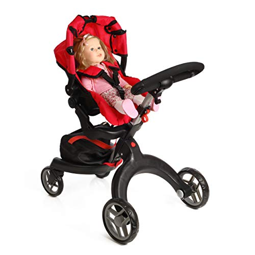 Mommy and Me SoCutie Doll Stroller with Swiveling Wheels and Adjustable Handle. 31' Tall, Carriage Bag Included