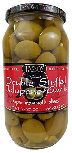Tassos Double Stuffed Jalapeno-garlic Super Mammoth Greek Olives, 35.27 Oz