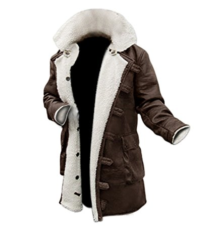 DISC Brown Leather Trench Coat Mens Jacket [1600227]   Bne PU, 3XL