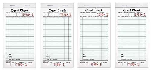 Adams Guest Check Pads, Single Part, Perforated Guest Receipt, 8.6 x 17.2 cm, 50 Sheets per Pad, 10 Pack (525SW) (Fоur Расk)