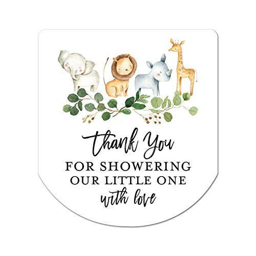Baby Shower Hand Sanitizer Favor Stickers - Set of 60 Labels (Jungle Safari)
